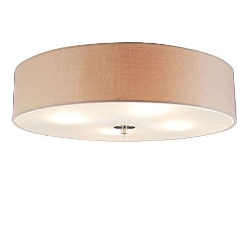 QAZQA Modern Deckenleuchte Deckenlampe Lampe Leuchte Drum Mit Schirm 50 Rund Beige