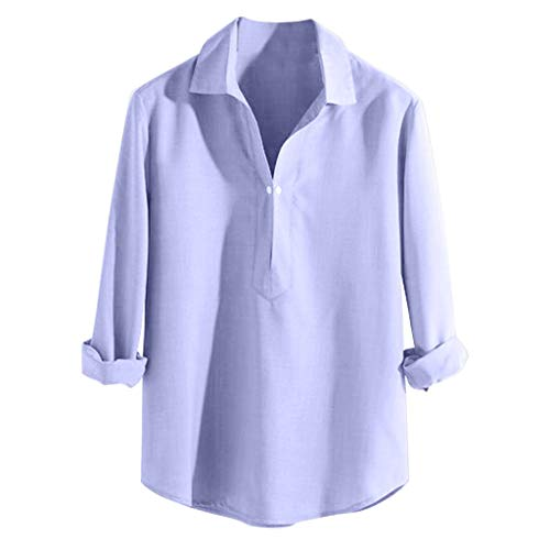 MIS1950s Casual Cotton Linen T Shirts, Simple Standard Colar Long Sleeve O Neck Tees Summer Loose Tops Ethnic Style -
