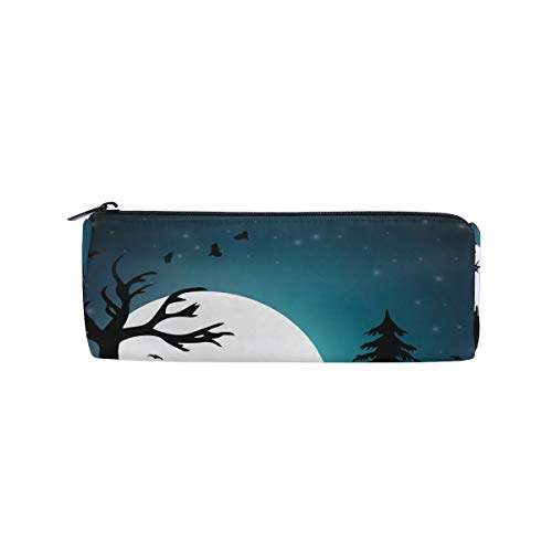 IMOBABY Halloween Moonlight Pumpkin Skyline Cylindrical Pencil Case Pen Bag, Multi-Functional Stationery Pouch Zipper Bag Student Zip Pencil Holders Pouch Gift Travel Makeup Bag