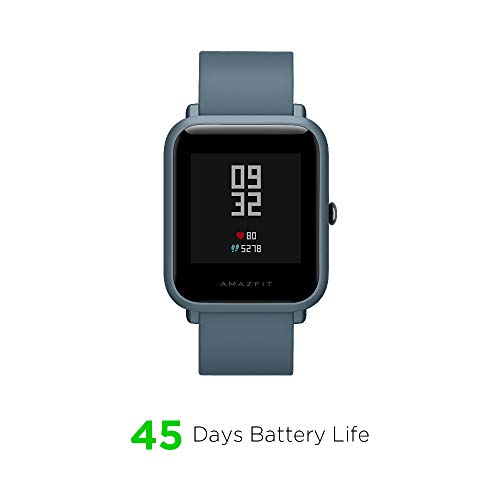 "Amazfit Bip Lite Smartwatch, 45-Day Battery Life, Heart Rate & Sleep Monitor, 1.2"" Always-On Touchscreen, 3 ATM Water Resistant, Multisport Tracker, Blue (W1915IN3N)"