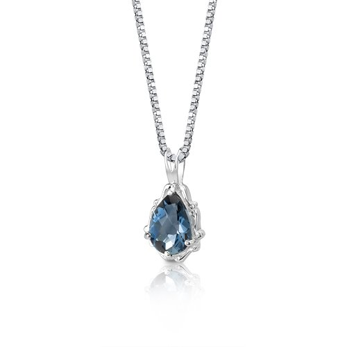 London Blue Topaz Pendant Necklace Sterling Silver Pear Shape 2.25 Carats