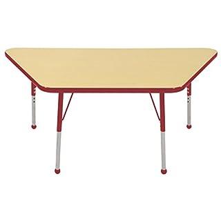 "ECR4Kids Mesa Premium 30"" x 60"" Trapezoid School Activity Table, Standard Legs w/ Ball Glides, Adjustable Height 19-30 inch (Grey/Red)"