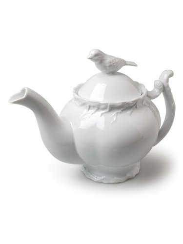 Abbott Collection Bird and Branch White Teapot