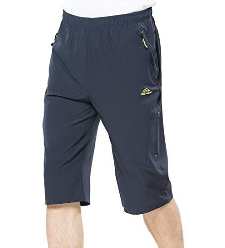 Rdruko Men's 3/4 Capri Pants Below Knee Shorts Camping Cycling Athletic Running Shorts with Pockets(Grey, US 38) ()