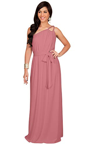 KOH KOH Plus Size Womens Long Sleeveless One Shoulder Cocktail Evening Formal Bridesmaid Bridal Wedding Party Summer Sexy Cute Maternity Gown Gowns Maxi Dress Dresses, Cinnamon Rose Pink 3XL 22-24