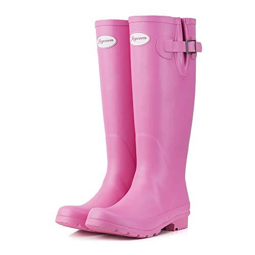 JOYCORN Women's Wellies Rain Boots Original Waterproof Knee-High,(Pink,7 B M US)
