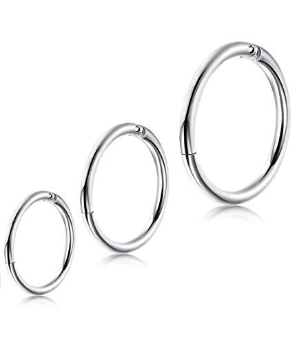 LOLIAS 3Pcs 6-10mm Stainless Steel 18-20G Cartilage Hoop Earrings for Men Women Nose Hoop Ring Helix Septum Couch Daith Lip Tragus Piercing Jewelry LOP-CHE3P-0.8