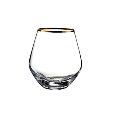 Fitz and Floyd Michel Stemless Curved Glasses (Set of 4), Gold