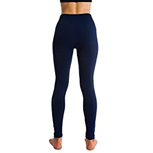 Fleece Lined Thick Brushed Leggings Thights by Homma (XL/XXL, NAVY)