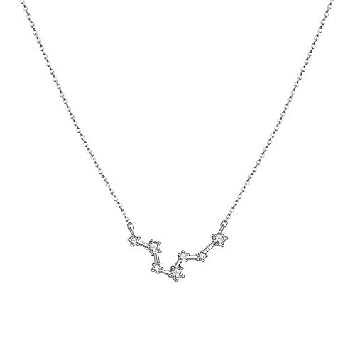 LOYATA Constellation Zodiac Necklace, Silver Plated Horoscope Pendant Necklace Delicate Rhinestone Zodiac Sign Elegant CZ Star Constellation Pisces Necklace for Women (Pisces)
