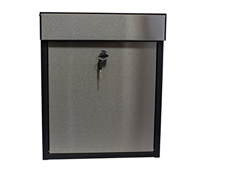 Qualarc WF-P010 Woodlake Wall Mount Rectangular Galvanized and Stainless Steel Locking Mailbox, Black/Silver Contemporary Wall Mount Mailbox