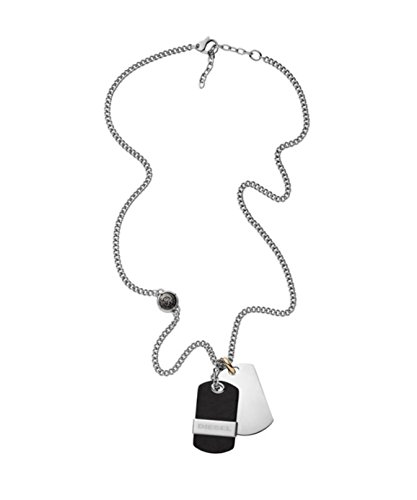 Diesel Men's Stainless Steel & Leather Double Dog Tag Necklace DX1084040 with Gift Box $95 by Diesel (Image #1)