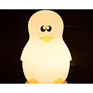New Silicone Penguin Night Light USB Rechargeable Touch Switch Table Desk Optical Illusion Lamps 7 Color Changing Lights LED Table Lamp Xmas Home Love Brithday Children Kids Decor Toy Gift