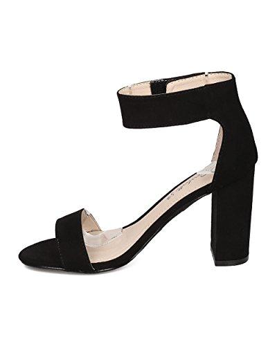 Breckelles Sandalo Con Tacco Largo - Elegante, Formale, Versatile - Tacco Grosso Cinturino Alla Caviglia - Gh04 By Black