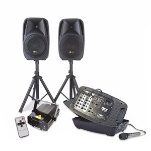 QFX All-In-One DJ Mixer PA System & Disco Party Light