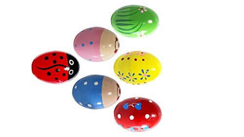 BEST Set of 6 Wooden Percussion Musical Egg Maracas Egg Shakers for Children, School Ensembles Includes Carry Bag