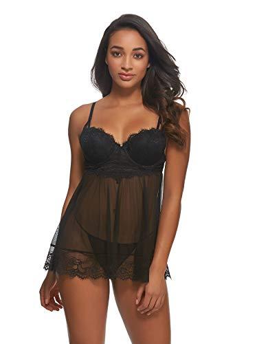 - Jezebel Women's Liezel Eyelash Lace Slip with Garters, Black, M