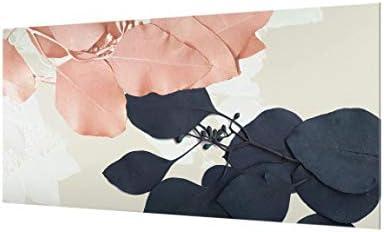 Bilderwelten Crédence en Verre - Leaves Indigo & Rouge II - Paysage 59cm x 120cm