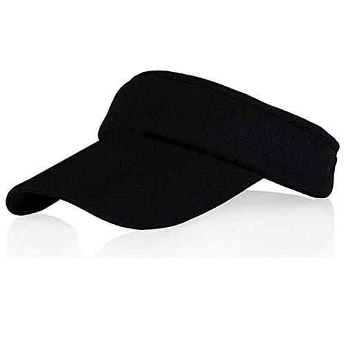(Black Sun Visors for Girls and Women, Long Brim Thicker Sweatband Adjustable Hat for Golf Cycling Fishing Tennis Running Jogging Sports)