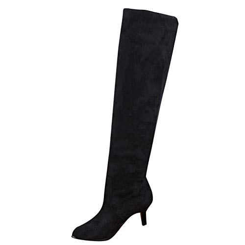 Womens Suede Over The Knee Shoes,Clearance Sunyastor Fashion Middle Heels Thigh High Boots Stretch Faux Long Boots