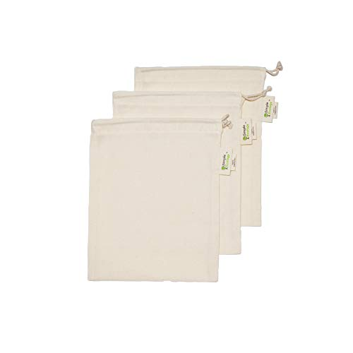 Simple Ecology Reusable Organic Cotton Muslin Grocery Shopping Produce Bags - Small 3 Pack (heavy duty, washable, produce saver bags, food storage, bulk bin, tare weight tag, drawstring)