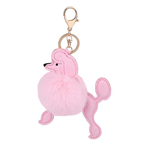 Womens Mens Cute Poodle Dog Keychian Key Rings Faux Rabbit Fur Pompom Ball Key Holder Lovely Car Handbag Accessories Chaveiros Pink