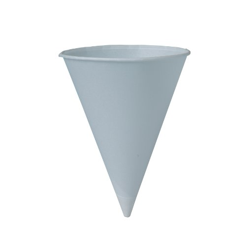 SOLO 8RB-2050 Bare Eco-Forward Treated Paper Cone Water Cup, 8 oz Capacity, White (10 Packs of 250) by Solo Foodservice