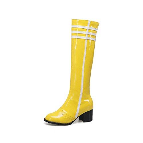 Sandalette-DEDE Botas Altas, Botas de Moda, Tacones Altos, Colores Altos, Botas de Mujer, Botas Altas de Tubo. yellow