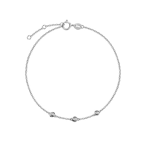 (Carleen 18K Solid White Gold Three Round Dot 0.045 ct Diamond Bracelet Minimalist Dainty Delicate Fine Jewelry for Women Girls)