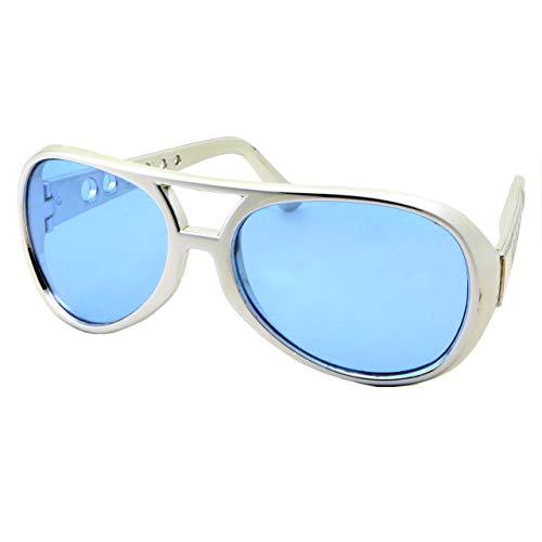 50's 60's Rock Star Sunglasses - Elvis Style Aviator Glasses - Mens Costume (Silver Frame, Blue -