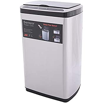 JAH Automatic Touchless Motion Sensor Oval Trash Can, Stainless Steel Kitchen Waste Bins, 50 L, 13.2 GAL (50 L)