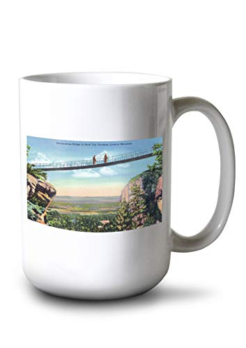Bridge Swing Along - Lantern Press Lookout Mountain, TN - Rock City Gardens; View of Tourists Crossing a Swing-Along Bridge (15oz White Ceramic Mug)