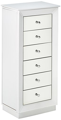 Major-Q 9097171 Contemporary Style White Finish Classy Jewelry Armoire with Raised Mirror, 6 Storage Drawers and 2 Side Doors with Hooks