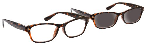 Wayfarer Reading Sun Glasses UV400 Reader Value Case Brown 50 by UVRPK010 Style With Reader Mens Pack Strength Tortoiseshell Womens 3 UV Reader UV Matching Twin Inc Aq0Ot