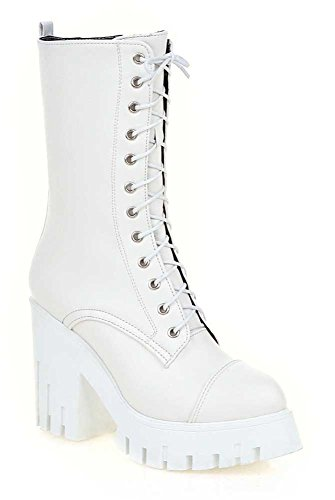 CHFSO Womens Stylish Solid Lace Up Round Toe Mid Calf Chunky High Heel Platform Boots White G3cDGey
