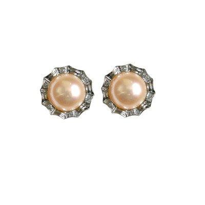 Crystal Circlet Cultured Pearl Silver Stud Earrings, Peach Pink ()