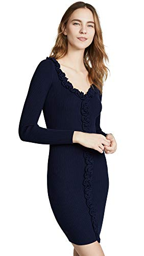 MILLY Women's Ruffle Trim Fitted Dress, Navy, Blue, Large