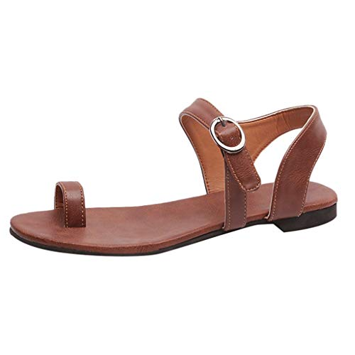 Women's Summer Sandals,YuhooSUN Summer Open Toe Beach Breathable Flat Buckle Strap Leather Sandals Rome Shoes Brown