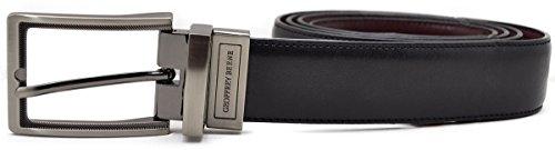 Geoffrey Beene Men's Embossed Pattern Reversible Belt Black/Burgundy 42 ()