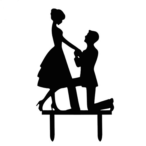 Ecape Acrylic Funny Cake Topper of Engagement and Wedding Party with Making a Proposal Black Pack of 1