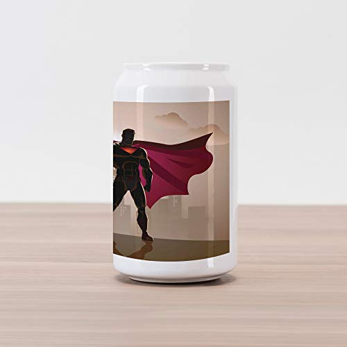 Ambesonne Superhero Cola Can Shape Piggy Bank, Super Woman and Man Heroes in City Solving Crime Hot Couple in Costume, Ceramic Cola Shaped Coin Box Money Bank for Cash Saving, -