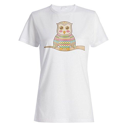 Farbige Eulen-Sammlung Ethnische Lustige Neuheit Damen T-shirt a660f