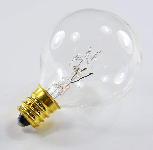 Replacement Globe Light Bulb, G40, 5W/130V, E12 Base, Clear, Set of 25