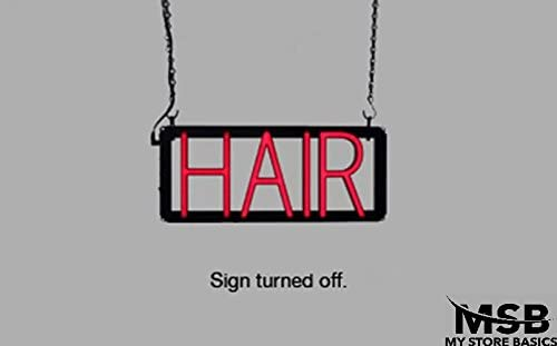 Hair Neon Look LED Technology Animated Store Window Sign 6.5 x 14.5in