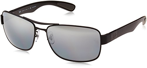 Ray-Ban Men's RB3522 Square Metal Sunglasses, Matte Black/Polarized Grey Mirror Silver Gradient, 61 mm (Ray Ban Square)