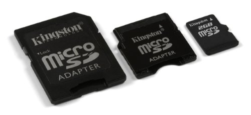 Kingston 2 GB microSD Flash Memory Card with SD and miniSD Adapters SDC/2GB-2ADP