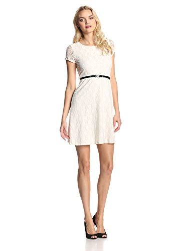 Star Vixen Women's Short Sleeve Lace Skater Dress, Ivory, Small