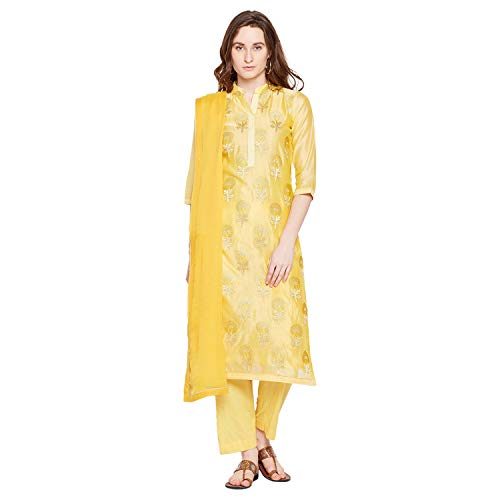 PinkShink Yellow Chanderi Silk Embroidered Women's Kurta Trouser Dupatta Set prt267 (L)