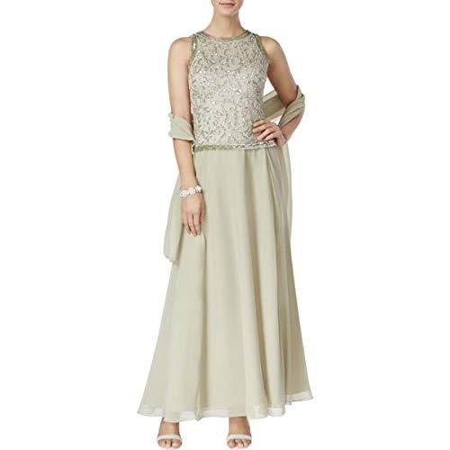 Print Sequined Kara Silver Dress Jacquard Sage Evening J Womens qxOt1vH