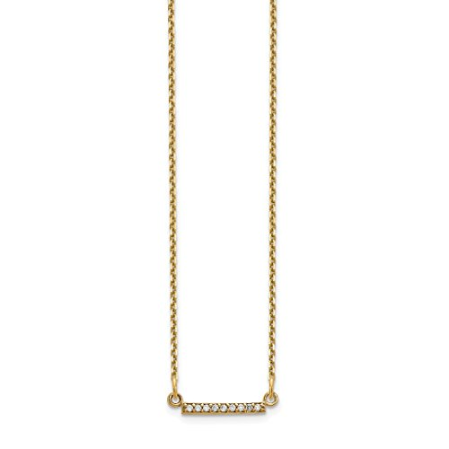 Bar Pendant 14kt Gold Jewelry - ICE CARATS 14kt Yellow Gold Diamond Tiny Bar Chain Necklace Pendant Charm Contemporary Fine Jewelry Ideal Gifts For Women Gift Set From Heart